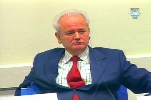 Slobodan Miloševic in the courtroom