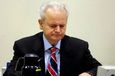 Slobodan Milosevic in the courtroom